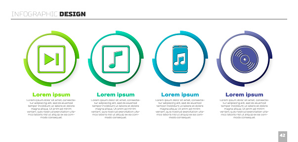 Set Fast forward, Music note, tone, Music player and Vinyl disk. Business infographic template. Vector