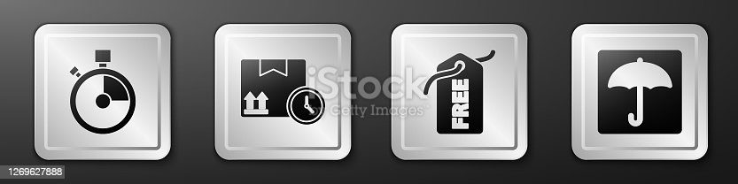 istock Set Fast time delivery, Cardboard box and fast time, Price tag with Free and Umbrella icon. Silver square button. Vector 1269627888