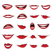 Set female lips isolated on a white background.
