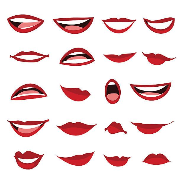 Définir les lèvres féminines seul sur un fond blanc. - Illustration vectorielle