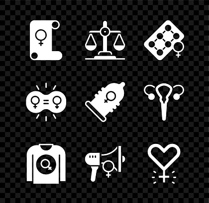 Set Feminism, Gender equality, Packaging of birth control pills, Feminist shirt, activist, and Condom icon. Vector