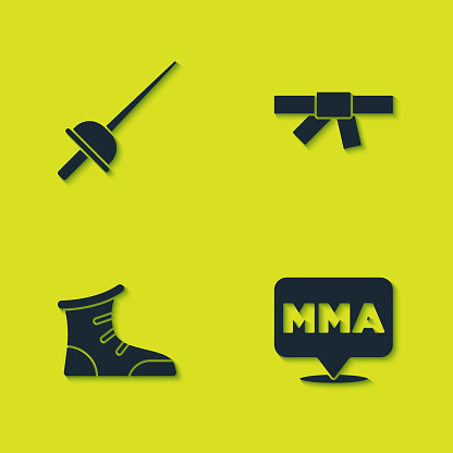 Set Fencing, Fight club MMA, Sport boxing shoes and Black karate belt icon. Vector