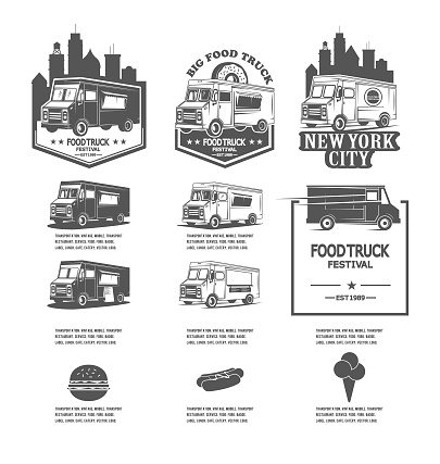Set festival food truck logos, vector icons for fast food companies