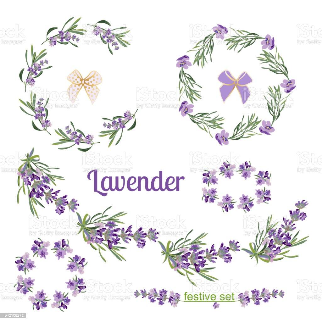 Set Weihnachten Frames Und Elemente Mit Lavendel Blumen Stock Vektor ...