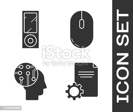 Set File document, Music player, Human brain as digital circuit board and Computer mouse icon. Vector