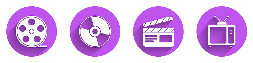 Set Film reel, CD or DVD disk, Movie clapper and Retro tv icon with long shadow. Vector
