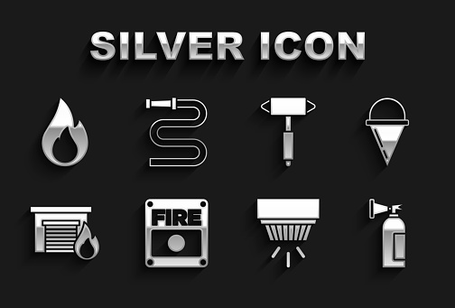 Set Fire alarm system, cone bucket, extinguisher, Smoke, burning garage, Firefighter axe, flame and hose reel icon. Vector