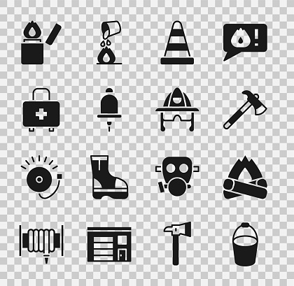 Set Fire bucket, Campfire, Firefighter axe, Traffic cone, Ringing alarm bell, First aid kit, Lighter and helmet icon. Vector