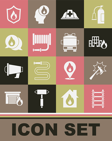 Set Fire escape, Firefighter axe, in burning buildings, helmet, hose reel, Telephone call 911, protection shield and truck icon. Vector