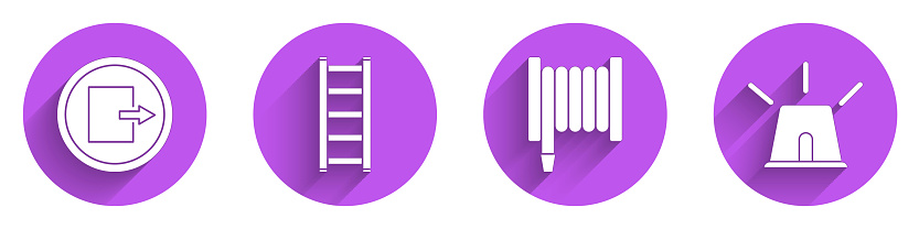 Set Fire exit, Fire escape, Fire hose reel and Flasher siren icon with long shadow. Vector