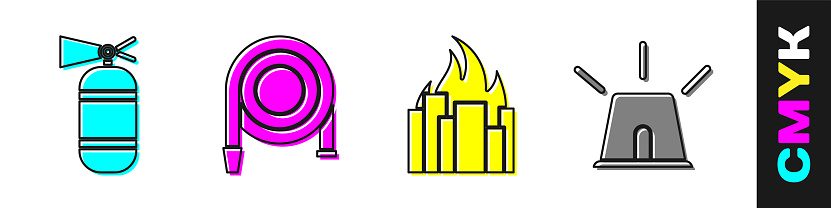 Set Fire extinguisher, Fire hose reel, Fire in burning buildings and Flasher siren icon. Vector