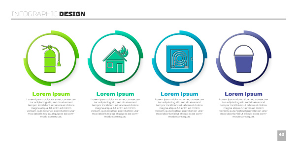 Set Fire extinguisher, Fire in burning house, Fire hose cabinet and Fire bucket. Business infographic template. Vector
