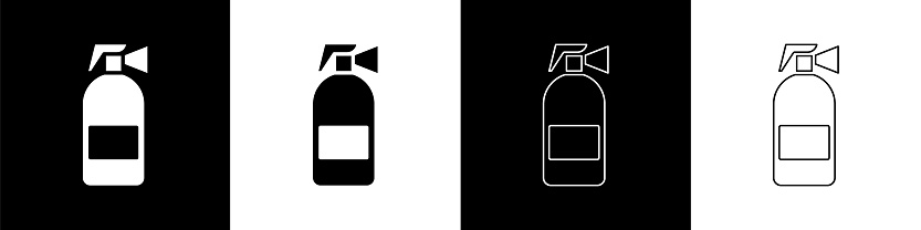Set Fire extinguisher icon isolated on black and white background. Vector Illustration