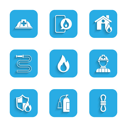 Set Fire flame, extinguisher, Climber rope, Firefighter, protection shield, hose reel, burning house and helmet icon. Vector