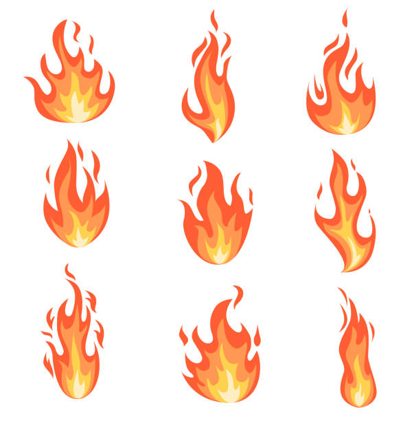 Set fire flames. Set of fire flames. Collection of yellow, red and orange hot flaming element. Group of isolated cartoon style templates for game design, web, advertise, animation. Vector illustration. flame stock illustrations