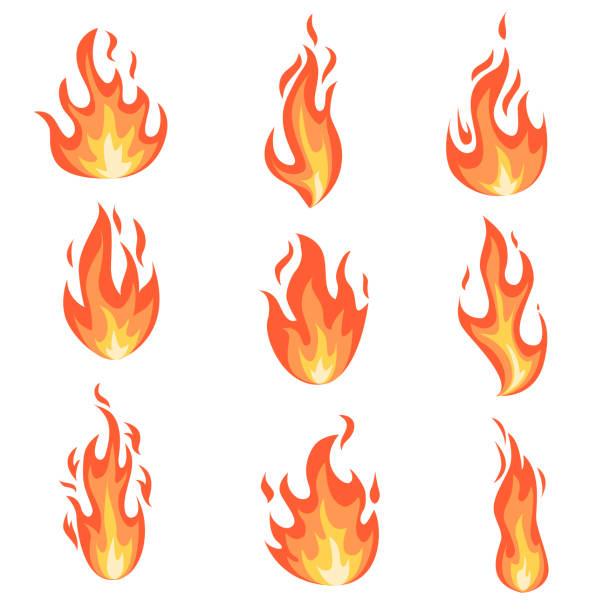 bildbanksillustrationer, clip art samt tecknat material och ikoner med ställ eldflammor. - flames