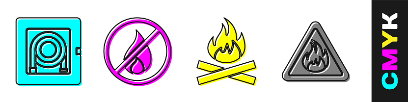 Set Fire hose cabinet, No fire, Campfire and Fire flame in triangle icon. Vector