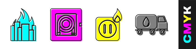 Set Fire in burning buildings, Fire hose cabinet, Electric wiring of socket in fire and Water delivery truck icon. Vector