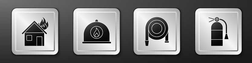Set Fire in burning house, Firefighter helmet, Fire hose reel and Fire extinguisher icon. Silver square button. Vector
