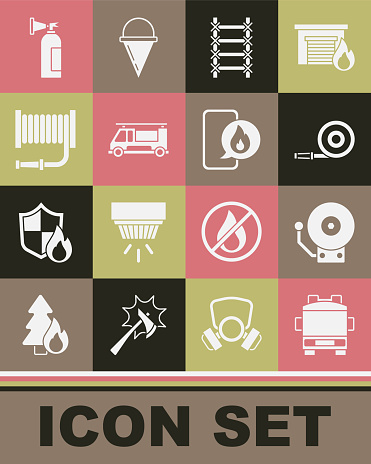 Set Fire truck, Ringing alarm bell, hose reel, escape, extinguisher and Phone with emergency call 911 icon. Vector