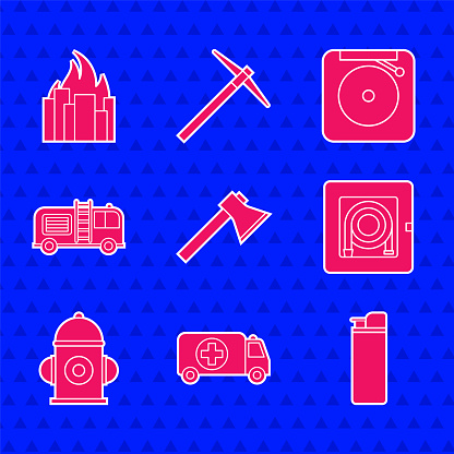 Set Firefighter axe, Ambulance and emergency car, Lighter, hose cabinet, hydrant, truck, Ringing alarm bell and burning buildings icon. Vector