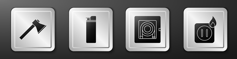 Set Firefighter axe, Lighter, Fire hose cabinet and Electric wiring of socket in fire icon. Silver square button. Vector