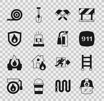 Set Firefighter helmet, escape, Emergency call 911, axe, Flasher siren, protection shield, hose reel and extinguisher icon. Vector