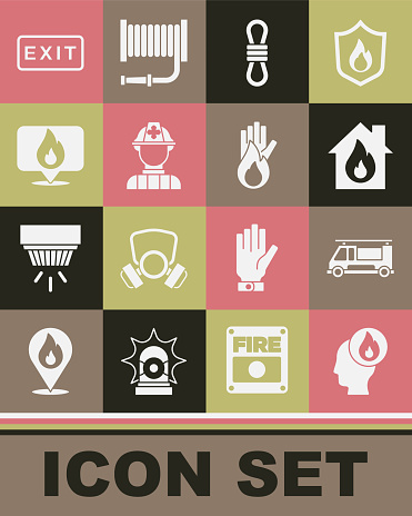 Set Firefighter, truck, in burning house, Climber rope, Location with fire flame, exit and No icon. Vector