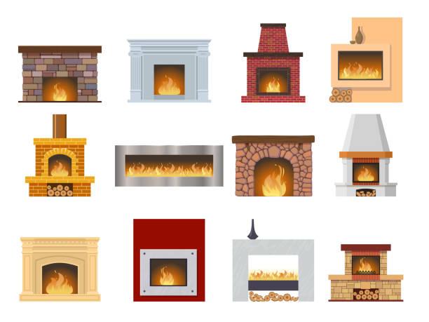 ilustrações de stock, clip art, desenhos animados e ícones de set fireplace made of colored bricks, natural stone, gypsum, flame - braseiro