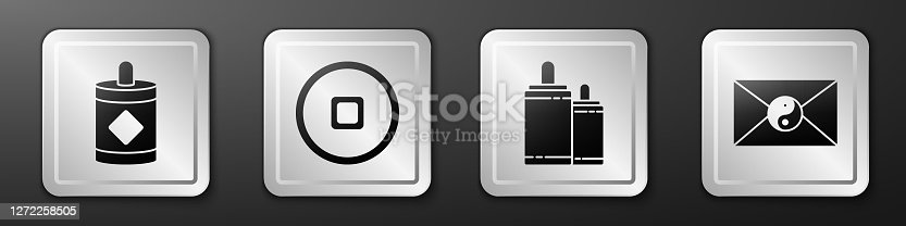 Set Firework, Chinese Yuan currency, Firework and Yin Yang and envelope icon. Silver square button. Vector