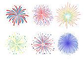Set Firework design on white background. vector illustration,