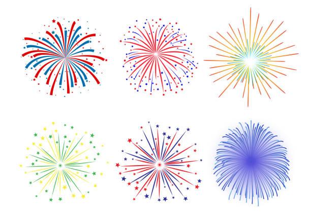 set firework design on white background - fireworks stock illustrations