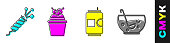 Set Firework rocket, Cake, Beer can and Mixed punch in bowl icon. Vector