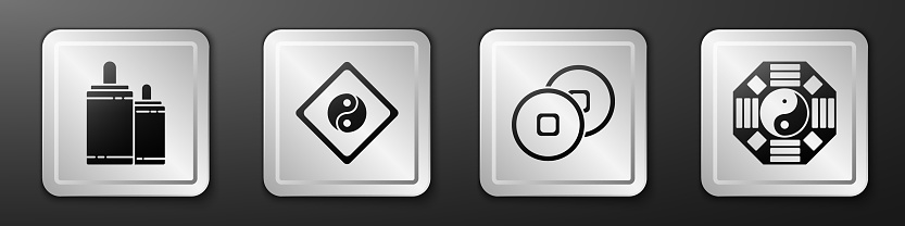 Set Firework, Yin Yang, Chinese Yuan currency and Yin Yang icon. Silver square button. Vector