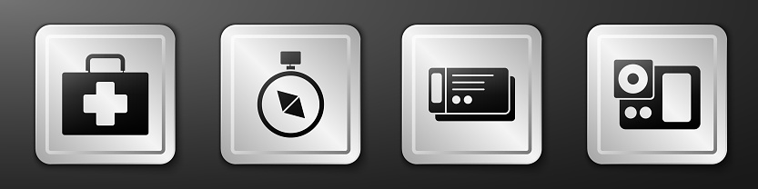 Set First aid kit, Compass, Travel ticket and Photo camera icon. Silver square button. Vector