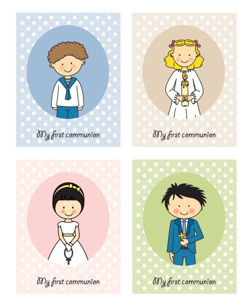 set first communion - communion stock illustrations, clip art, cartoons, & icons