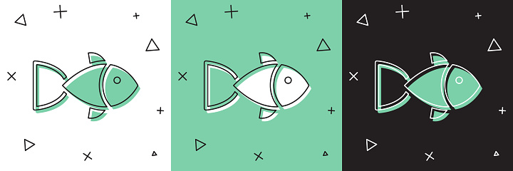 Set Fish icon isolated on white and green, black background. Vector