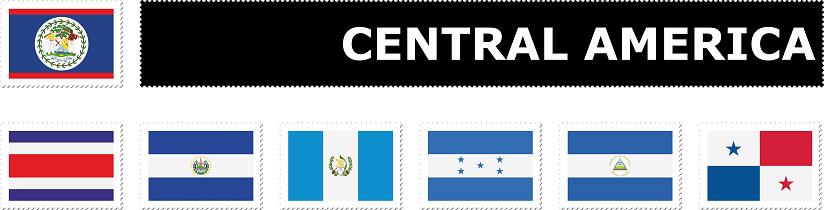 set flag Central America postage stamp