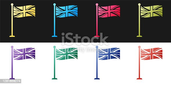 Set Flag of Great Britain on flagpole icon isolated on black and white background. UK flag sign. Official United Kingdom flag sign. British symbol. Vector.