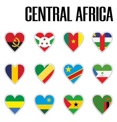 Set flags central Africa in heart with shadow and white outline