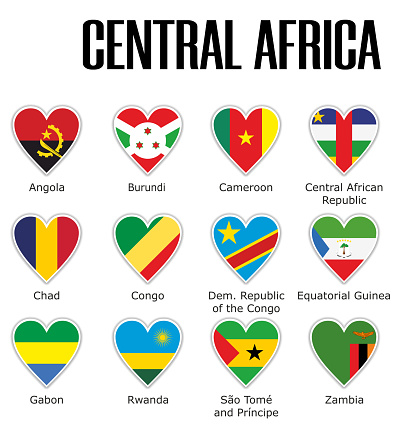 Set flags central Africa in heart with shadow and white outline with names
