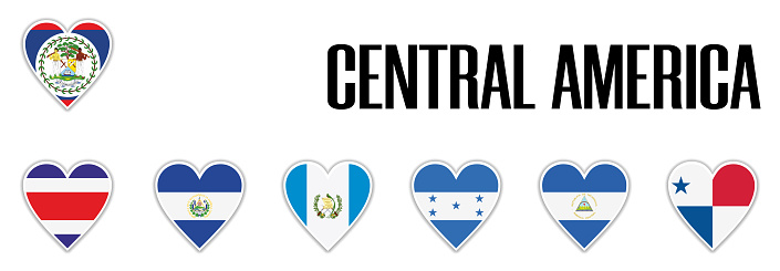 Set flags central America in heart with shadow and white outline