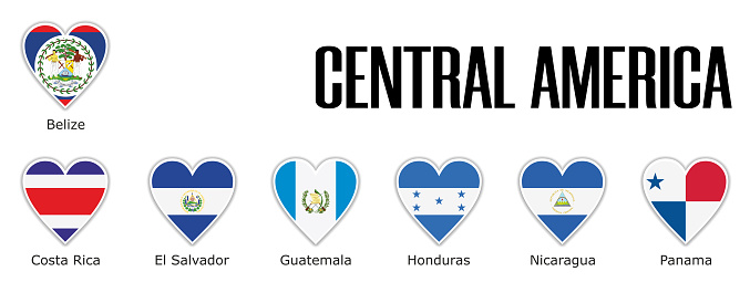 Set flags central America in heart with shadow and white outline with names