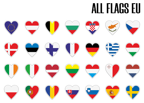 Set flags EU in heart with shadow and white outline