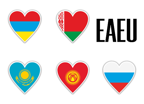 Set flags Eurasian Economic Union in heart with shadow and white outline