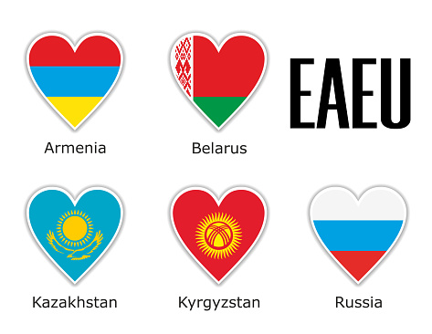 Set flags Eurasian Economic Union in heart with shadow and white outline with names