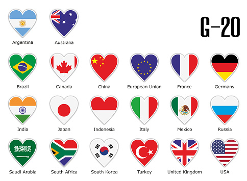 Set flags g20 in heart with shadow and white outline with names