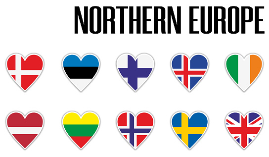 Set flags Northern Europe in heart with shadow and white outline