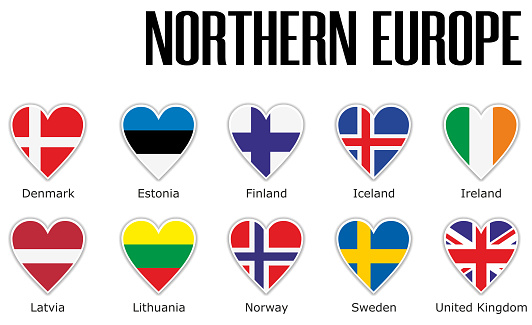 Set flags Northern Europe in heart with shadow and white outline with names