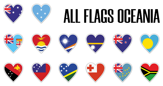 Set flags Oceania in heart with shadow and white outline